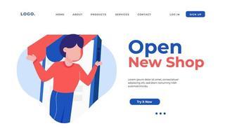 abrir nova página de destino da loja vetor