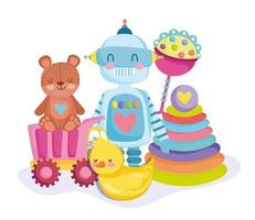 Teddy bear, robot, duck, rattle, and pyramid