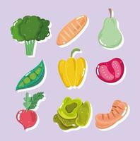 brócoli, pan, pera, guisantes, pimiento, tomate y rábano
