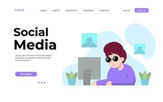 Social Media Time Landing Page vector