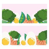 banner de brócoli, huevos y salchichas vector