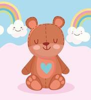 Cartoon teddy bear, rainbows, and clouds