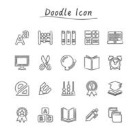 Doodle education icons  vector