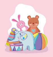 conejo de dibujos animados, oso, elefante, bola, tambor y pirámide