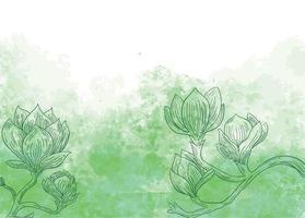 flores sobre fondo verde acuarela vector