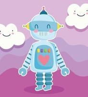 Cute cartoon robot machine with clouds vector