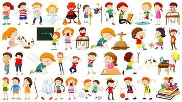 conjunto de personaje de dibujos animados para niños
