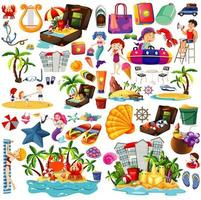 conjunto de estilo de dibujos animados de iconos de playa de verano vector