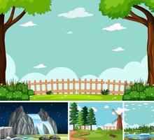 cuatro escenas diferentes en estilo de dibujos animados de entorno natural