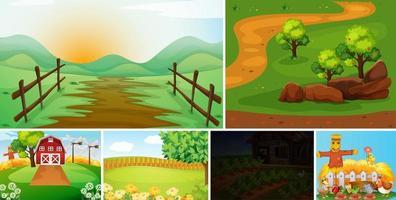 conjunto de estilo de dibujos animados de escena de granja vector