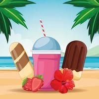 Ice cream and milk shake on beach