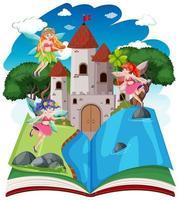 cuento de hadas y torre del castillo en libro emergente