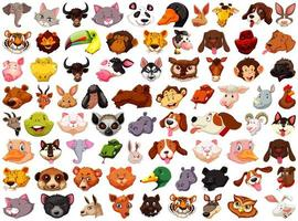 Set of Different Cartoon Animal Heads on White