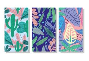 Set of tropical pattern banners vector