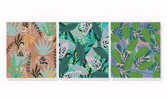 Set of tropical pattern backgrounds vector