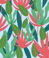 Tropical leaves and foliage background vector