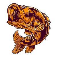 Hand drawn orange bass vector