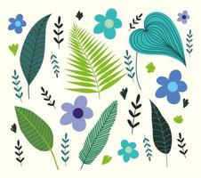 Tropical leaves, foliage and flowers vector
