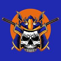 Japanese skull head samurai vector