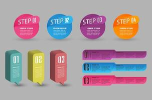 Infográficos coloridos modernos de banner em 3D