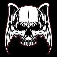 Skull head with wings outlined in red vector