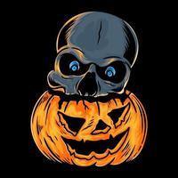 Skull head in pumpkin for halloween vector