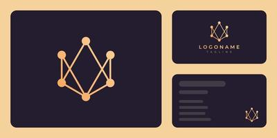 Gold connected shape business card template