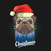 Pug head with Christmas hat over winter scene