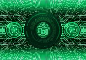 Hud de huella digital verde candado cerrado en patrón digital