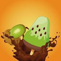 Kiwi ice cream bar with chocolate splash  vector