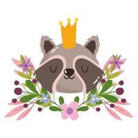 linda cabeza de mapache con corona