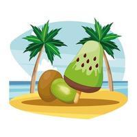 Ice cream and kiwi fruit on a beach  vector