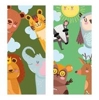 Lion, tiger, deer, elephant, bear, and owl banners