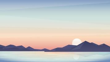 Sunset landscape background with mountains