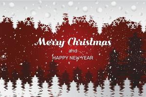 Grunge winter scene Christmas and New Year deisng vector