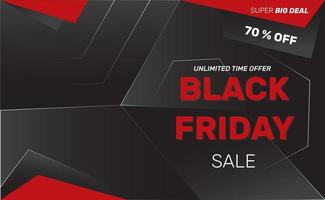 Red and black geometric Black Friday sale banner vector