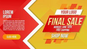 Banner de venta final de diseño en ángulo en rojo y amarillo. vector
