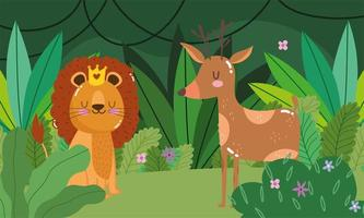 Cute lion with deer in forest vector