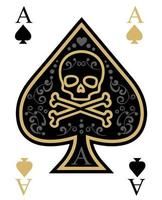tarjeta de as de espadas con calavera en oro y negro