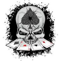 Ace of spades skull head with cards in mouth