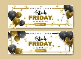 Black Friday sale banner set with balloons