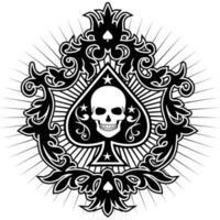 Emblema de cartas de espadas con cabeza de esqueleto vector