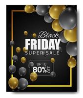 Black Friday sale banner with gold, black balloons