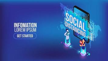 Social distancing isometric landing page template vector