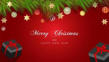Christmas design with branches, ornaments and stars on red vector