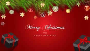 diseño navideño con ramas, adornos y estrellas en rojo.