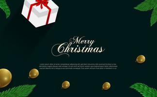 diseño navideño con globos dorados, ramas y regalo. vector