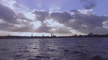 The skyline of Hamburg from Alster river