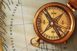 Antique brass compass photo