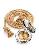 compass and ship rope on white photo
